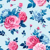 Seamless pattern with rose flowers royalty free illustration