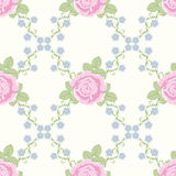 Seamless pattern with rose flowers. Seamless floral pattern. Vector background with decorative rose flowers Stock Photo