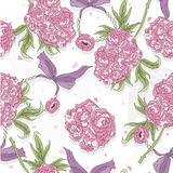 Seamless pattern with rose flowers, hearts and jewelry. Stock Photography