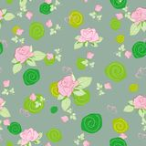 Seamless pattern rose on gray Stock Image