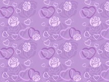 Seamless pattern of rose and heart. Shape Royalty Free Stock Photography