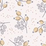 Seamless pattern with rose hip branches Stock Photo