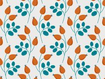 Seamless pattern with rose hip branches. Vector illustration Royalty Free Stock Photo