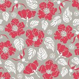 Seamless pattern with rose hips, wild roses. Botanical background. Vector illustration Stock Images