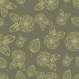 Seamless pattern rose and leaf hand drawn Royalty Free Stock Photos