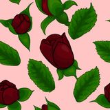 Seamless pattern, rose and leaves Royalty Free Stock Image