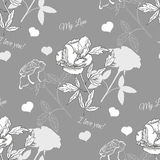 Seamless pattern with rose and peony Stock Photography