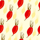 Seamless pattern with rosehip berries Royalty Free Stock Photo