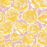 Seamless pattern with roses. Seamless floral pattern with hand-drawn yellow roses Stock Photos