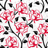 vector seamless pattern with roses. Stock Images