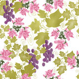 Seamless pattern with roses ang grape on white Royalty Free Stock Image