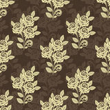 Seamless pattern with roses - beige and brown desi Stock Images