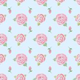 Seamless pattern with  roses on a blue royalty free illustration