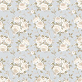Seamless pattern with roses on blue. Vector illustration. Stock Photos