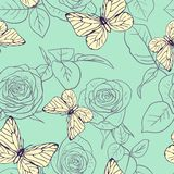 Seamless pattern with roses and butterflies Royalty Free Stock Image