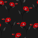 Seamless pattern with roses and butterflies on a black background. Royalty Free Stock Image