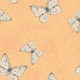 Seamless pattern with roses and butterflies Stock Photo