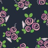 Seamless pattern with roses and butterflies. Vector illustration. A colored vector pattern with roses and a moth. Floral background. Suitable for packaging Royalty Free Stock Photos