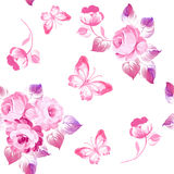 Seamless pattern roses and butterflies. Watercolor painting. Vec vector illustration