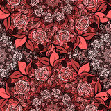 Seamless pattern with roses in circles,cute red flowers Stock Images