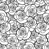 Seamless pattern with roses contours. Vector illustration. Royalty Free Stock Photos