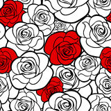 Seamless pattern with roses contours. Royalty Free Stock Photography