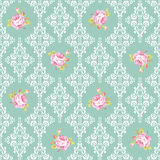 Seamless Pattern with roses and damask elements Stock Image