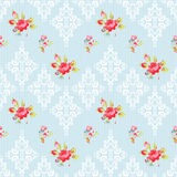 Seamless Pattern with roses and damask elements Royalty Free Stock Photo
