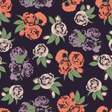 Seamless pattern with roses on dark background Stock Image