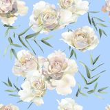 Seamless pattern of roses and eucalyptus twigs stock illustration