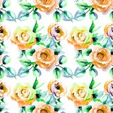 Seamless pattern with Roses flowers. Watercolor illustration Stock Images