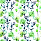 Seamless pattern with Roses flowers Royalty Free Stock Image