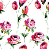 Seamless pattern with Roses flowers Royalty Free Stock Images