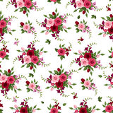 Seamless pattern roses and freesia. Stock Photography