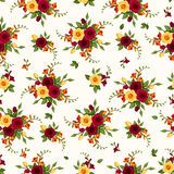 Seamless pattern with roses and freesia. Royalty Free Stock Photography