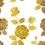 Seamless pattern with roses garden on monotone gold color,for fashion,fabric,textile,print or wallpaper stock photography