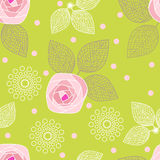 Seamless pattern of roses on a green background.vector illustration Royalty Free Stock Images