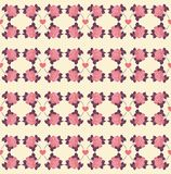 Seamless pattern of roses and hearts Stock Photography