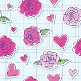 Seamless pattern of roses and hearts Stock Image