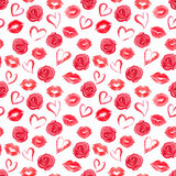 Seamless pattern with roses, hearts and traces of lipstick Stock Image