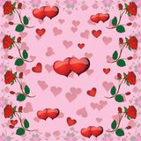 Seamless pattern with roses and hearts for Valentine's Day Royalty Free Stock Photos