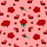 Seamless Pattern with Roses and Hearts Royalty Free Stock Image