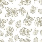 Seamless pattern with roses and leaf hand drawn. Vector Stock Photo