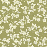 Seamless pattern with roses and leaves on green background Stock Photos