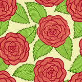 Seamless pattern in roses and leaves lace. Stock Photos