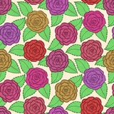 Seamless pattern in roses and leaves lace. Hand-drawn contour lines and strokes. Stock Photo
