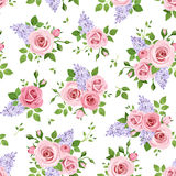 Seamless pattern with roses and lilac flowers. Vector illustration. Royalty Free Stock Photo