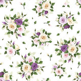 Seamless pattern with roses and lisianthus flowers. Vector illustration. Stock Images
