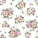 Seamless pattern with roses and lisianthus flowers Stock Photo
