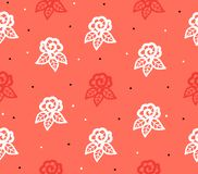 Seamless pattern with roses painted on a coral textural background for women`s day vector illustration